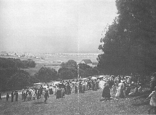 "A 1908 promotional photo showing the picnickers looking down from the oak groves onto the barn at Boswell's Ranch.  The hill the people are climbing is the one that goes up in the area of Ensenada and Capistrano Avenues. Though the push for a park in the bond measure seemed like a sure thing, the bond was defeated by 194 votes and the pristine area, filled with signs of Indian occupation as well, quickly became a residential real estate development, ruining the chances for a huge park in the northern end of town. From the book ""Eccentrics, Heroes, and Cutthroats"" by Richard Schwartz. Photo: Courtesy Richard Schwartz"