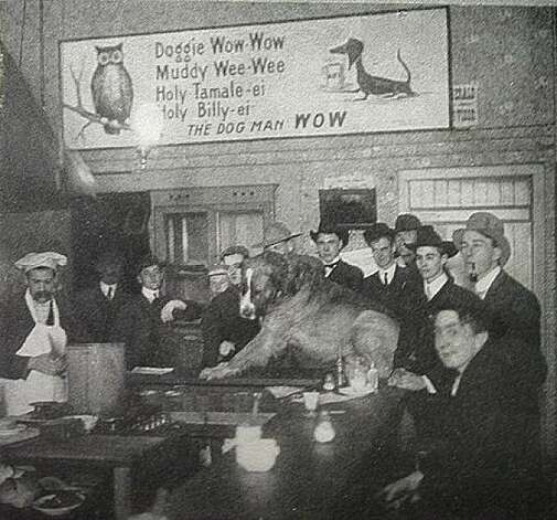 "A photo of Berkeley's famous Bill the Hot Dog Man's indoor restaurant circa 1902, possibly the only indoor location he ever had. Dogs were always welcome and he kept a close relationship with the university culture, as his clients were mostly students. The students were more than enamored with Bill's food, humor and hospitality. They even drew images of him (with a dog of course) and put it in their yearbook with an accompanying note of appreciation. From the book ""Eccentrics, Heroes, and Cutthroats"" by Richard Schwartz. Photo: Courtesy Richard Schwartz"