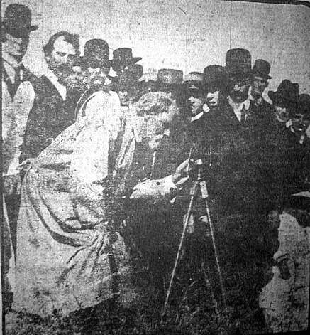 """Professor Joseph Voyle with a large and excited crowd in Berkeley using his psychic compass divining rod to reveal to the public his newly discovered buried city under the UC Berkeley campus.  San Francisco Call, June 22, 1908. Joseph Voyle was the president of the Berkeley Society for Psychical Research. He was a Civil War veteran, had been ship wrecked, spoke Latin, Hebrew, French, Spanish, Liaboe and Indian and Hindu dialects. After the war, he studied with a Cherokee mystic and """"learned men from the Orient."""" He was also a chemist and photographer. He arrived in Berkeley in 1880 and soon was all over town with his divining rod """"finding"""" ancient cities of the Indians. He also experimented with radium, carrying it around Berkeley and San Francisco in his teeth until he became too dizzy to continue. He believed radium had """"directive properties"""" and believed that the Indians used it to mark special spots. Voyle had a large local following whom he led up into the Berkeley hills and UC campus to show them ancient buried cities he found. Though he was not accepted by the scientific community and mocked by many newspapers, he followed his research studies until he became too ill to continue.  From the book """"Eccentrics, Heroes, and Cutthroats"""" by Richard Schwartz. Photo: Courtesy Richard Schwartz"""