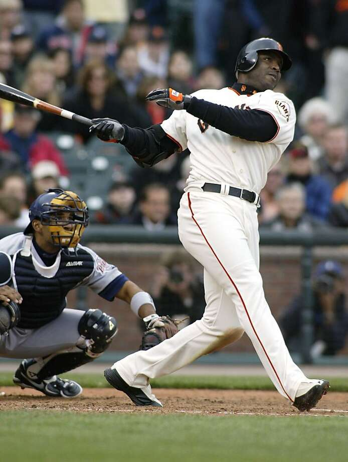5 Apr 2002:  Barry Bonds of the San Francisco Giants hits his 5th home run of the year off of Alan Embree of the San Diego Padres at Pac Bell Park in San Francisco, California.    DIGITAL IMAGE     Mandatory Credit: Jed Jacobsohn\\Getty Images Photo: Jed Jacobsohn, Getty Images
