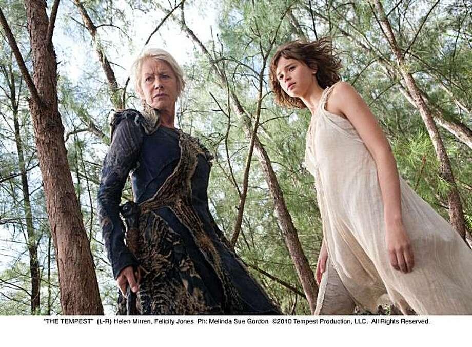 """THE TEMPEST""  (L-R) Helen Mirren, Felicity Jones Photo: Melinda Sue Gordon, Walt Disney Pictures"