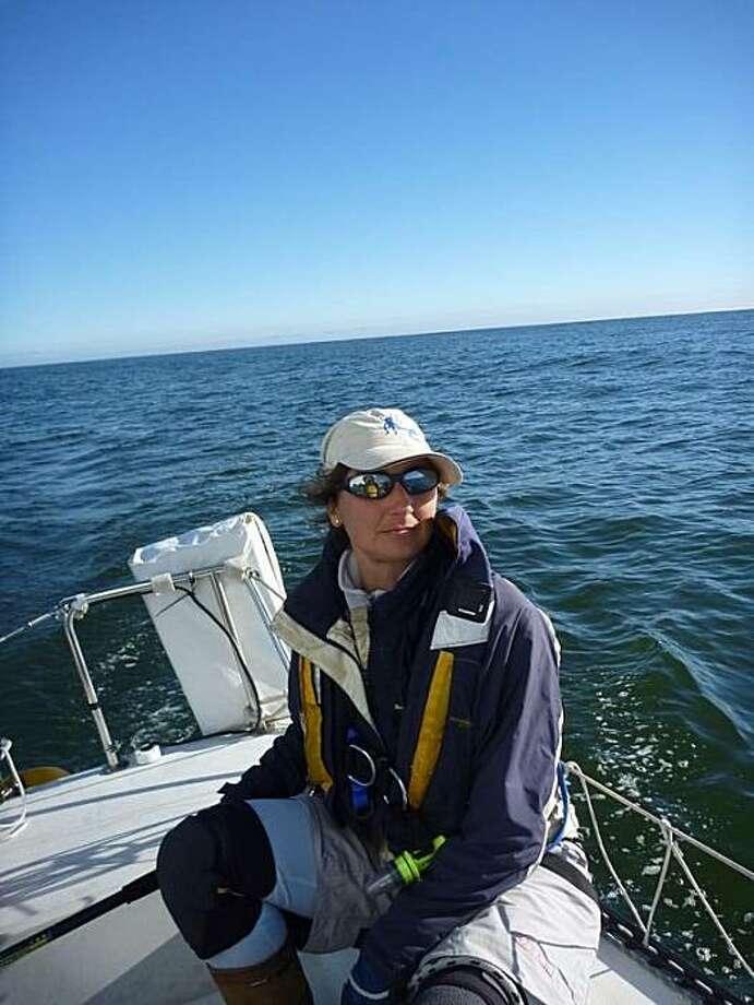 Ocean sailor Nathalie Criou in an ocean race to Drake's Bay. Photo: Nathan Bossett
