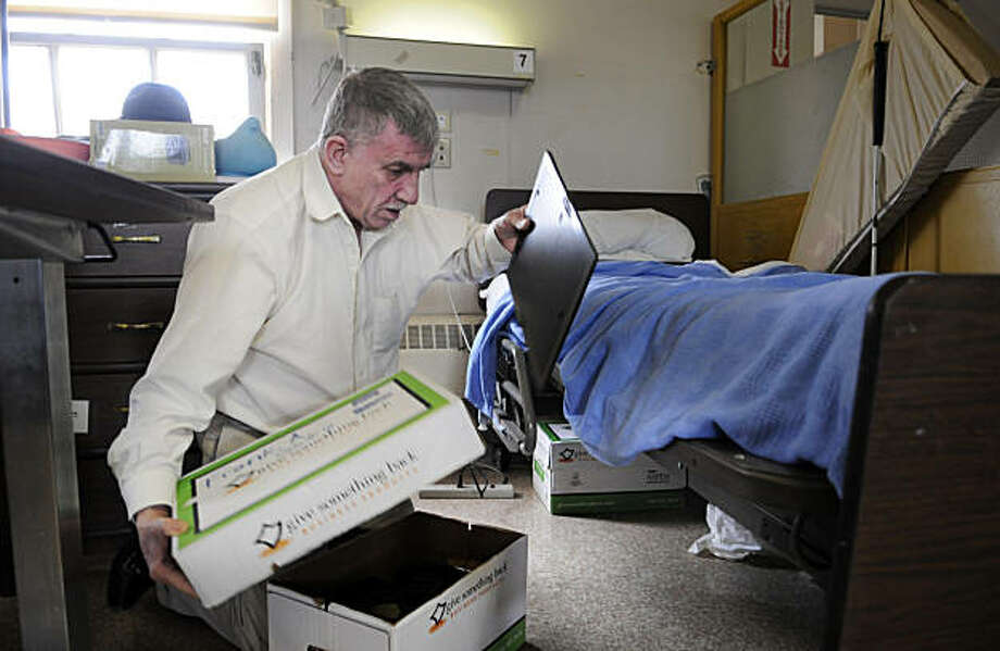 Hospital resident, Frank Ahern, has packed all of his belongings in preparation for moving at Laguna Honda Hospital on Thursday, December 2, 2010, San Francisco, Calif.  Residents of the old Laguna Honda Hospital are moving to the new hospital wing next week. Photo: Adm Golub, The Chronicle
