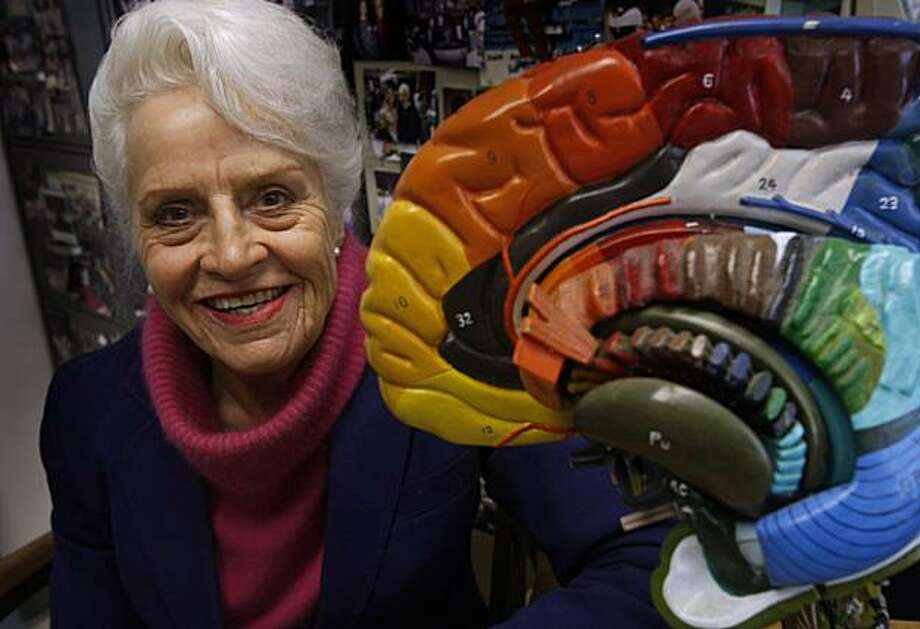 Anatomy professor Marian Diamond sits with a large model of a human brain in her office at UC Berkeley on Tuesday, Nov. 16, 2010. Diamond is one of the world's renowned experts in neuroanatomy. Photo: Paul Chinn, The Chronicle