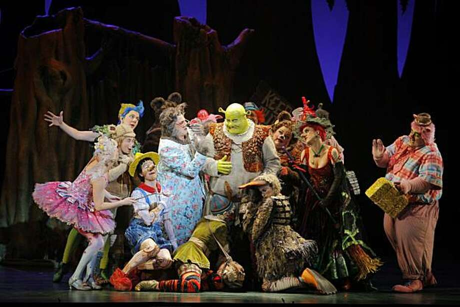 All the fairy tale characters plead with Shrek, Eric Peterson, for help during a preview of the Shrek the Musical at Orpheum on Wednesday, December 1, 2010, San Francisco, Calif. Photo: Adm Golub, The Chronicle