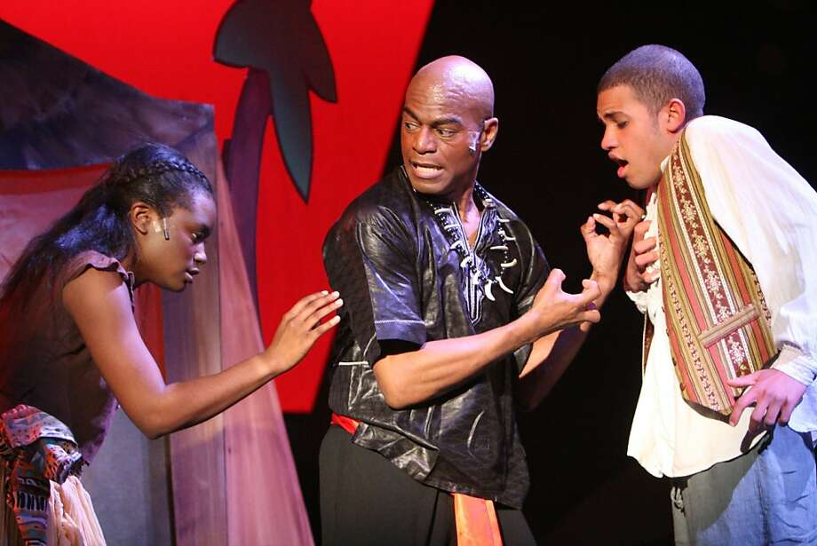 """Ti Moune (Khalia Davis, left) tells Papa Ge (LaMont Ridgell) that she will save Daniel (Trevor Moppin) by trading her life for his in Willows Theatre's production of """"Once On This Island"""" Photo: Judy Potter"""
