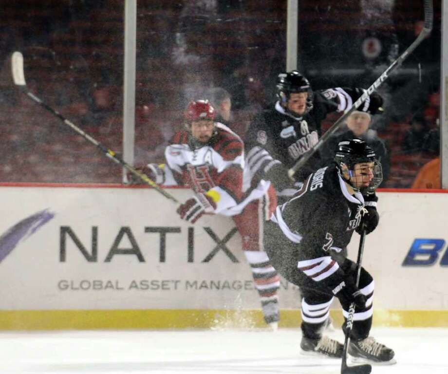 Union's Josh Jooris heads to the puck during  their college hockey game against Harvard at Fenway Park in Boston ,Mass Friday, Jan.13, 2012. ( Michael P. Farrell/Times Union) Photo: Michael P. Farrell