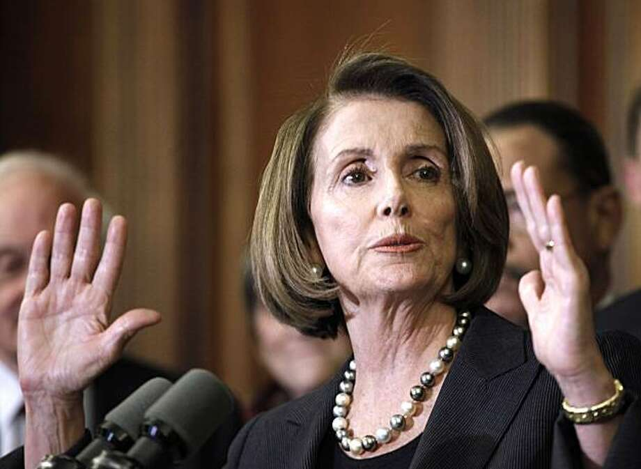 House Speaker Nancy Pelosi of Calif., gestures on Capitol Hill in Washington, Thursday, Dec. 2, 2010, prior to signing the Pigford, Cobell Settlement Legislation that would provide funding to settle African American farmers' and Native Americans'  lawsuits against the federal government. Photo: Harry Hamburg, AP