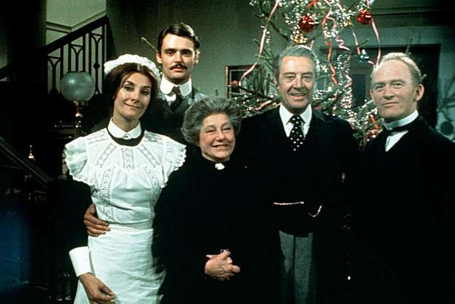 """Upstairs, Downstairs"": Jean Marsh, Simon Williams, Hermione Baddeley, David Langton and Gordon Jackson. Photo: Acorn Media"
