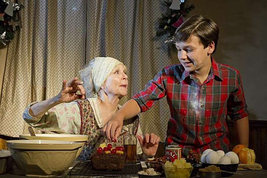 penny fuller left as sook and gabriel hoffman as buddy make holiday fruitcakes in