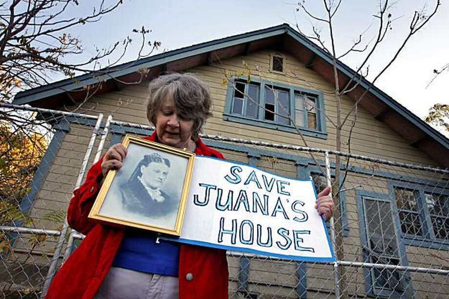Activist Kathy Akatiff fight to keep Juana Briones historical home standing, Monday Nov. 29, 2010, in Palo Alto, Calif. The 1844 home is threatened of being demolished due to a court ruling. Photo: Lacy Atkins, The Chronicle