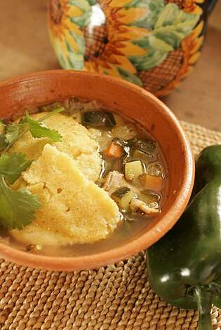 Turkey Vegetable Soup With Cornmeal Dumplings Photo: Craig Lee, SFC