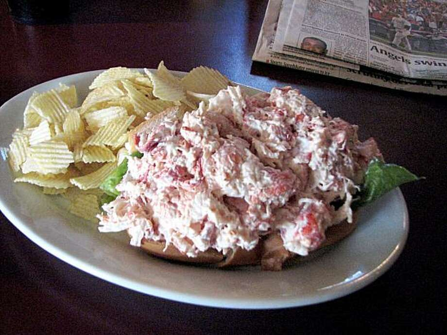 The lobster roll: Maine, uh, delicacy. Cholesterol bomb. And the lifesblood of Maine politics. Or maybe we made that up. Photo: Joe Garofoli, San Francisco Chronicle