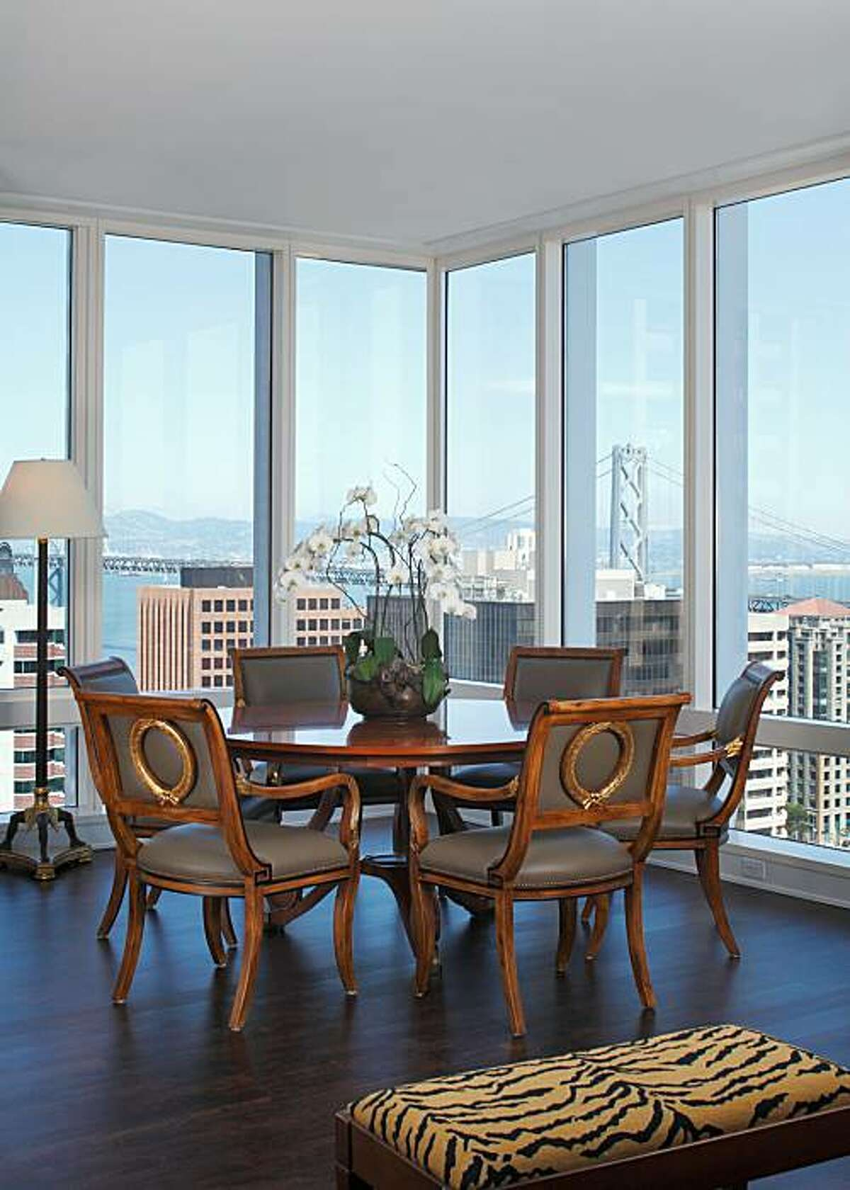 Stephen and Pamela Mittel's dining room with floor-to-ceiling windows.