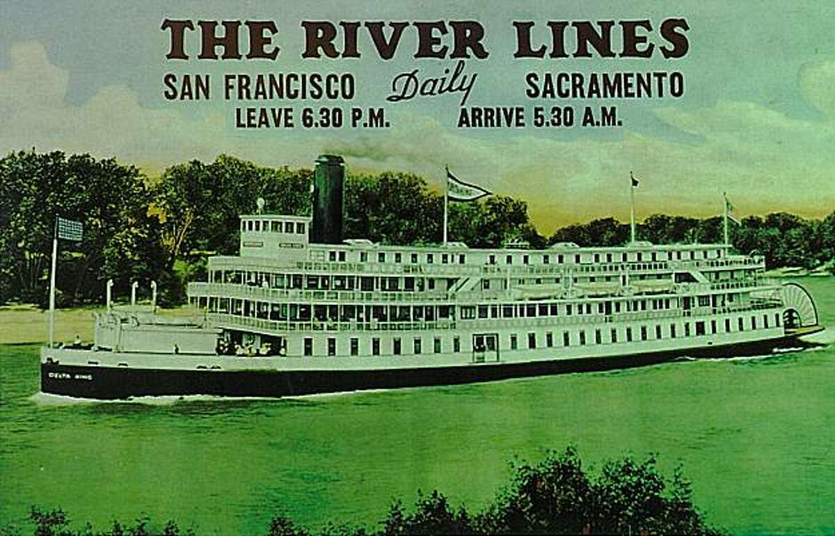 An undated postcard shows the Delta King riverboat on its route between San Francisco and Sacramento.