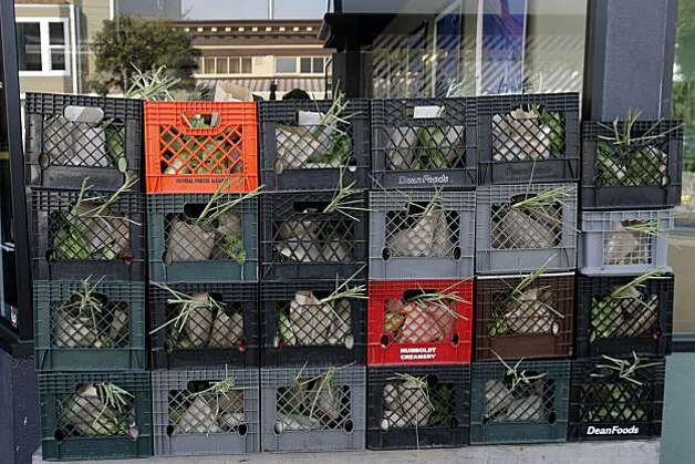 High-quality produce boxes stacked outside of Namu restaurant in San Francisco, Calif., on Sunday, February 13, 2011. Photo: Thomas Levinson, The Chronicle