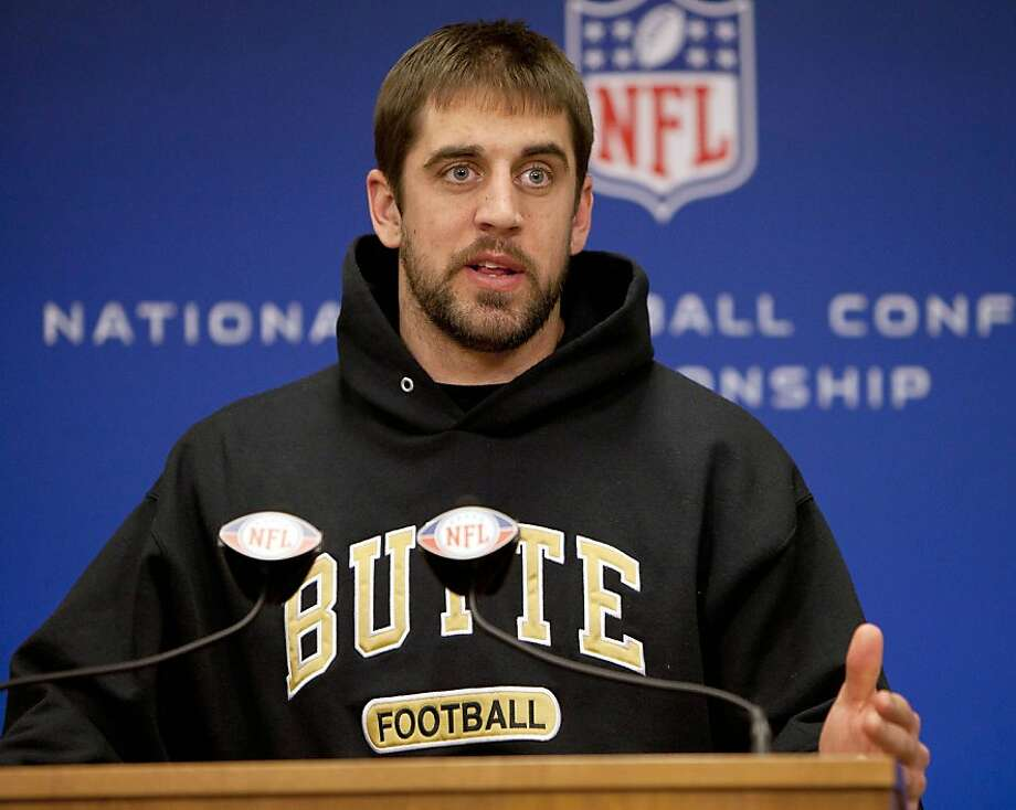 Green Bay Packers quarterback Aaron Rodgers talks during an NFL football news conference, Wednesday, Jan. 19, 2011, in Green Bay, Wis. The Packers are scheduled to play the Chicago Bears in the NFC Championship game on Sunday, Jan. 23, in Chicago. Photo: Mike Roemer, AP