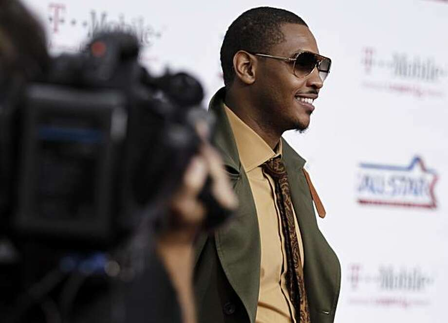 Denver Nuggets' Carmelo Anthony arrives for the NBA basketball All-Star Game on Sunday Feb. 20, 2011, in Los Angeles. Photo: Matt Sayles, AP
