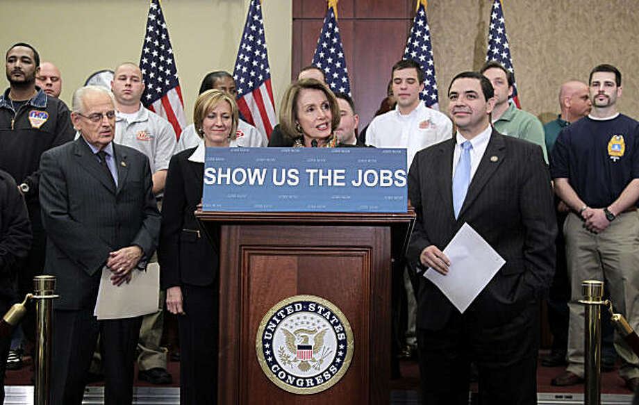 House Minority Leader Nancy Pelosi of Calif., joined by firefighters and police officers from New Jersey, Washington, and Ohio, on Capitol Hill in Washington, Thursday, Feb. 17, 2011,to criticizes the Republican House leadership on jobs. From left are: Rep. Bill Pascrell Jr., D-N.J., Rep. Betty Sutton, D-Ohio, Pelosi, and Rep. Henry Cuellar, D-Texas. Photo: J. Scott Applewhite, AP