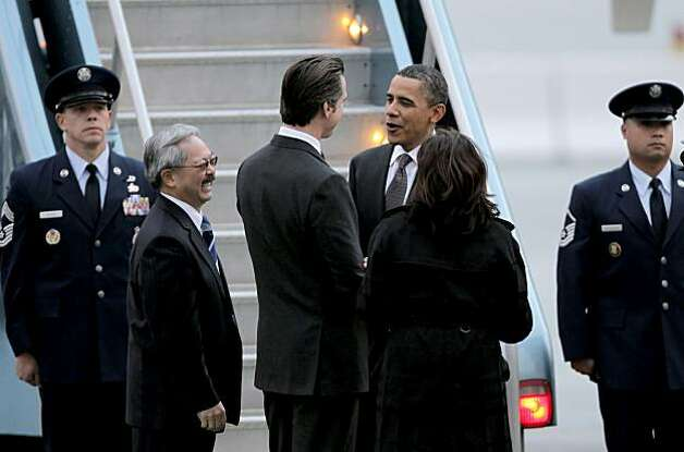 President Obama, greets local politicians, San Francisco Mayor Ed Lee, Lt. Governor Gavin Newsom and State Attorney General Kamala Harris, upon his arrivval aboard Air Force One, at San Francisco International airport, on Thursday Feb. 17, 2011, for a one day visit with local business leaders in the fields of technology and innovation. Photo: Michael Macor, The Chronicle