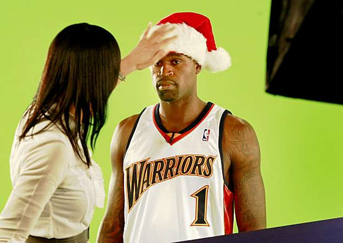 Warriors disgruntled guard Stephen Jackson posed for a holiday house ad on media day. The annual Golden State Warriors media day was held at the Warriors practice facility at the Oakland Marriott hotel Monday September 28, 2009.