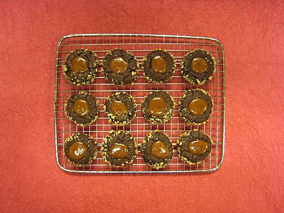 Chocolate-Caramel Cookies. These cookies - crisp on the outside and fudgy on the inside - are topped with caramel. Photo: Erick Wong, The Chronicle