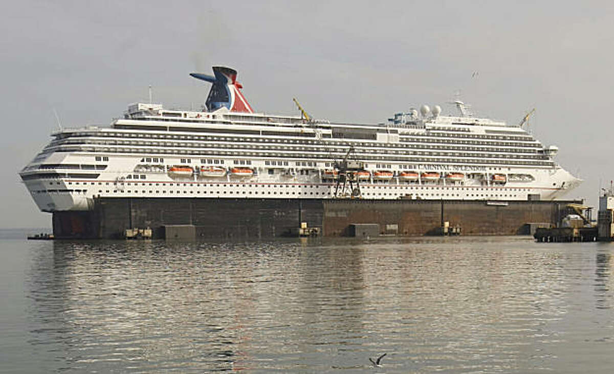 The ship Carnival Splendor sits dry docked in San Francisco Calif, on Friday, Jan. 26, 2011 as it undergoes repairs for an engine room fire that occured in November.