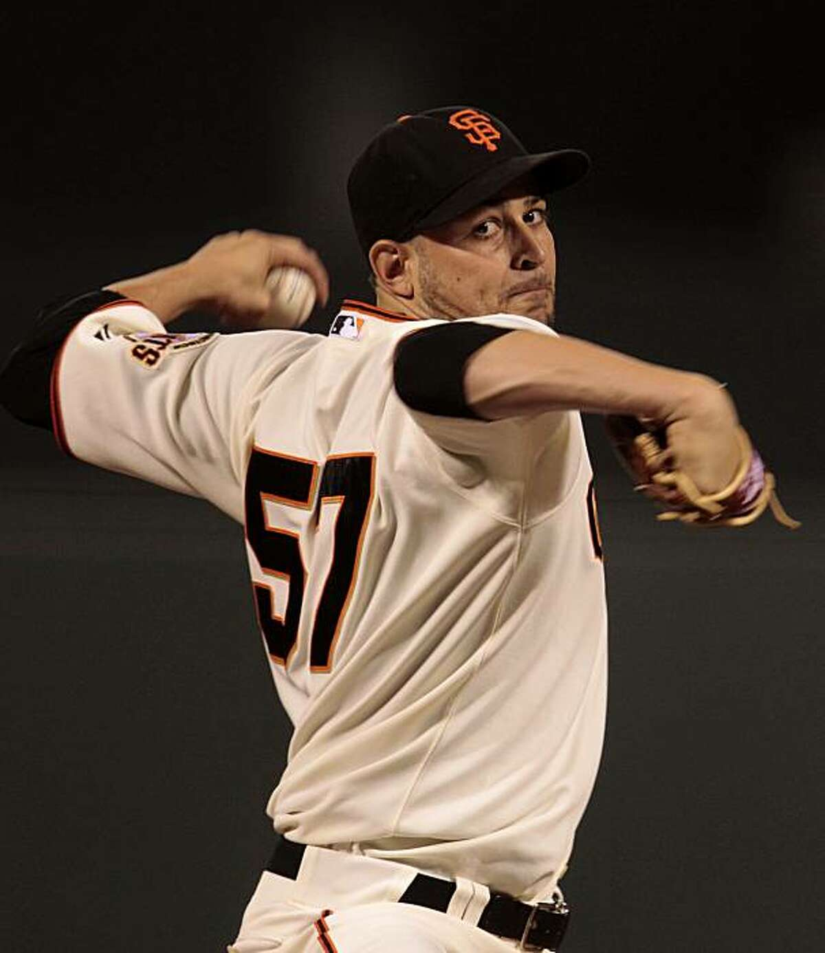 Giants starting pitcher Jonathan Sanchez works against the Arizona Diamondbacks at AT&T Park on Tuesday.