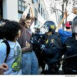 Near the Berkeley police station, the police cleared protesters. At the protest outside the Berkeley City Council area, students confronted police after two were arrested in the afternoon.