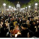 Even before the speakers were finished, the crowd lit their candles near the glow of San Francisco City Hall. Hundreds of Tibet supporters including actor Richard Gere and Archbishop Desmond Tutu took part in a candle light vigil near United Nations Plaza in San Francisco Tuesday, April 8, 2008.