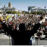 The Rev. Amos Brown ignited a crowd of thousands with a fiery speech denouncing the passage of the Proposition 8 marriage initiative during a rally at City Hall to protest thein San Francisco, Calif., on Saturday, Nov. 15, 2008.