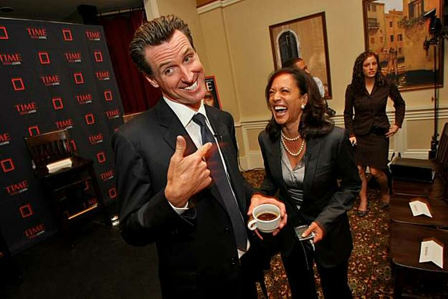 Mayor Gavin Newsom and Kamala Harris laugh as they meet other up and coming young political people at the Time magazine breakfast as part of the  Democratic National Convention on Tuesday,  Aug.26 2008 in Denver, Colorado. Photo: Lacy Atkins, The Chronicle