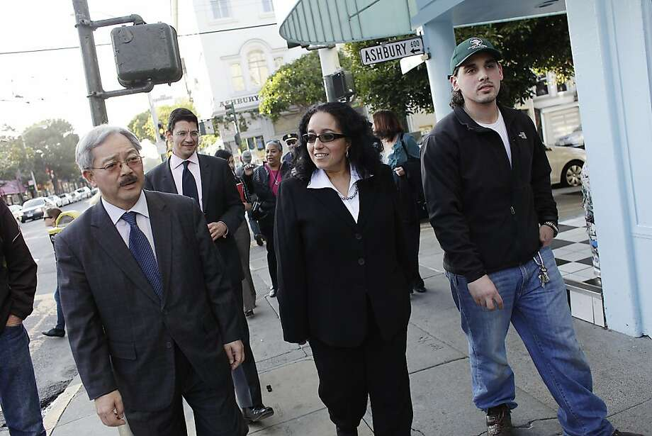 Mayor Ed Lee (l to r),  newly appointed District 5 Supervisor Christina Olague and Bobby Vardakastanis, manager Haight Street Market talk as they walk on Haight Street during a merchant walk on Monday, January 9, 2012 in San Francisco, Calif. Photo: Lea Suzuki, The Chronicle