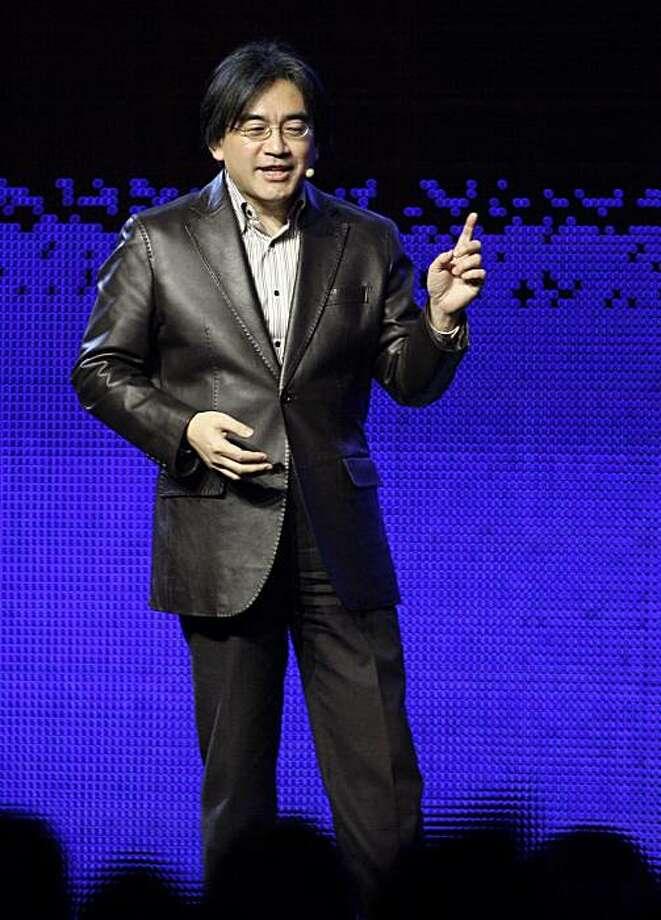 Nintendo president Satoru Iwata delivers the keynote address at the Game Developers Conference Wednesday, March 25, 2009, in San Francisco. (AP Photo/Ben Margot) Photo: Ben Margot, AP