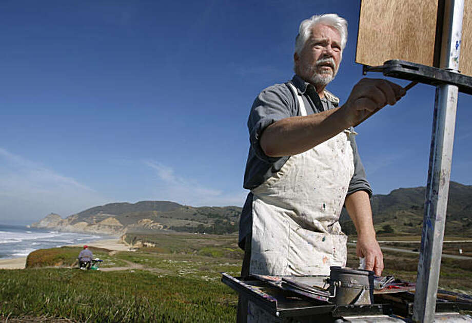 Don Baldwin paints a landscape of the coastline with other plein air artists in Montara, Calif., on Wednesday, Jan. 26, 2011. The Bay Area continues to bask under sunny skies and warm temperatures. Photo: Paul Chinn, The Chronicle