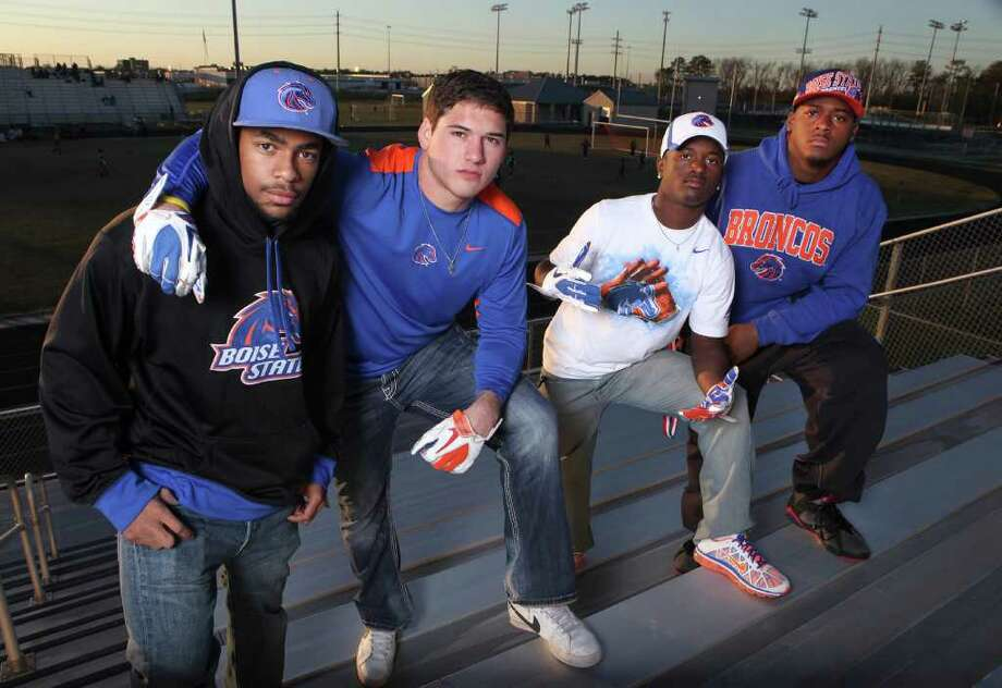 (L to R) Local Boise State recruits Devan Demas, Ben Weaver, Shane Rhodes, and Armand Nance at Dekaney High School in Houston on January 13, 2012. (Alan Warren, For the Chronicle) Photo: Alan Warren / ©2011 Houston Chronicle