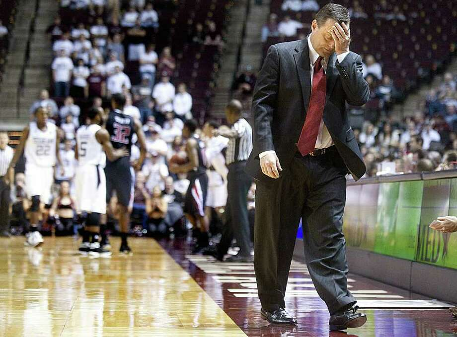 Texas Tech coach Billy Gillispie reacts to a turnover by his team during the first half of Texas A&M's victory in College Station on Saturday. Photo: BRYAN-COLLEGE STATION EAGLE, AP, STUART VILLANUEVA