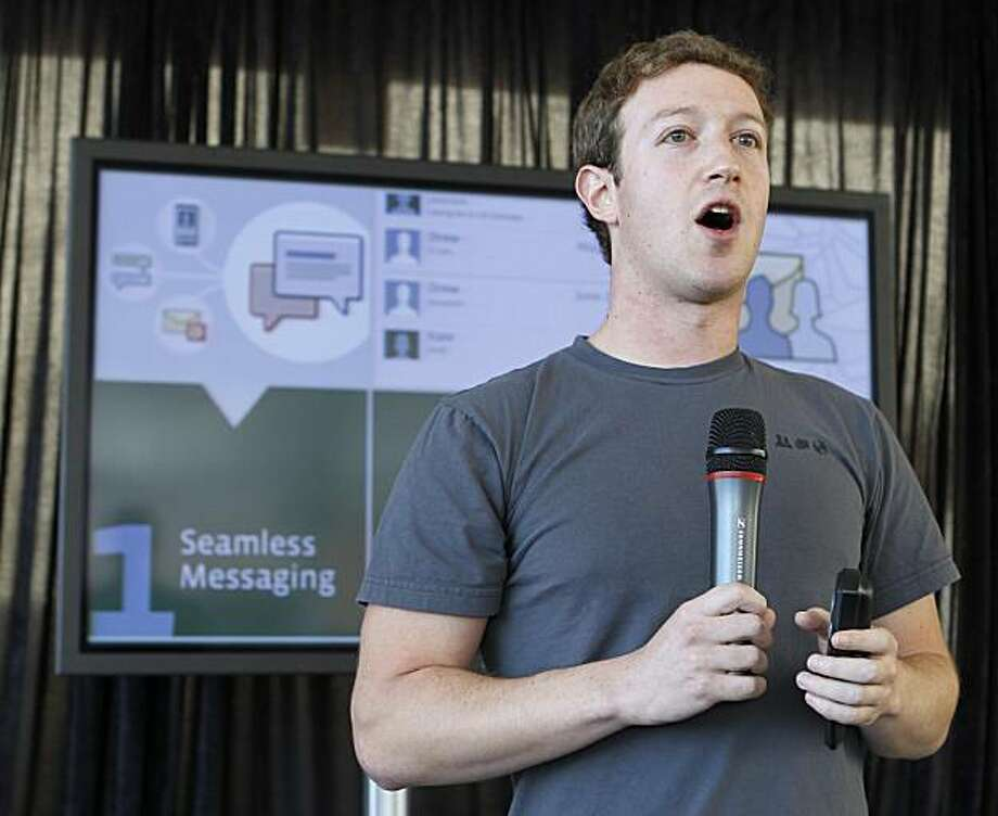 Facebook CEO Mark Zuckerberg talks about the new Facebook messaging service at an announcement in San Francisco, Monday, Nov. 15, 2010. AP Photo/Paul Sakuma) Photo: Paul Sakuma, AP
