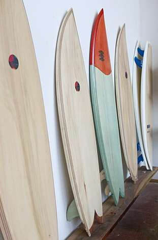 Surfboards made by Danny Hess are seen on display at Woodshop in San Francisco, Calif., on Monday, December 20, 2010. Photo: Laura Morton, Special To The Chronicle