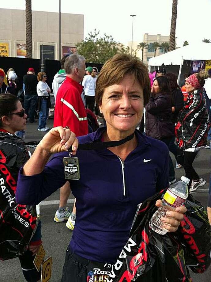 Karen Monroe at the finish of  Las Vegas marathon last month (Dec.) Photo: Courtesy Of Karen Monroe