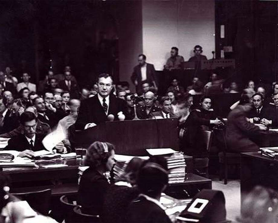 "Still from the restored ""Nuremberg: Its Lesson for Today."" Justice Robert H. Jackson served as Chief U.S. Prosecutor at the Nuremberg trial. Photo: Schulberg Productions"