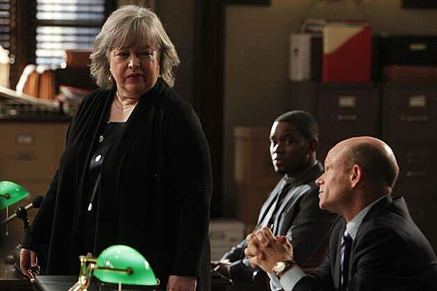 "HARRY'S LAW -- ""Pilot"" Episode -- Pictured: (l-r) Kathy Bates as Harry Korn, Aml Ameen as Malcolm Davies, Paul McCrane as Josh Peyton -- Photo by: Jordin Althaus/NBC Photo: Jordin Althaus, NBC"