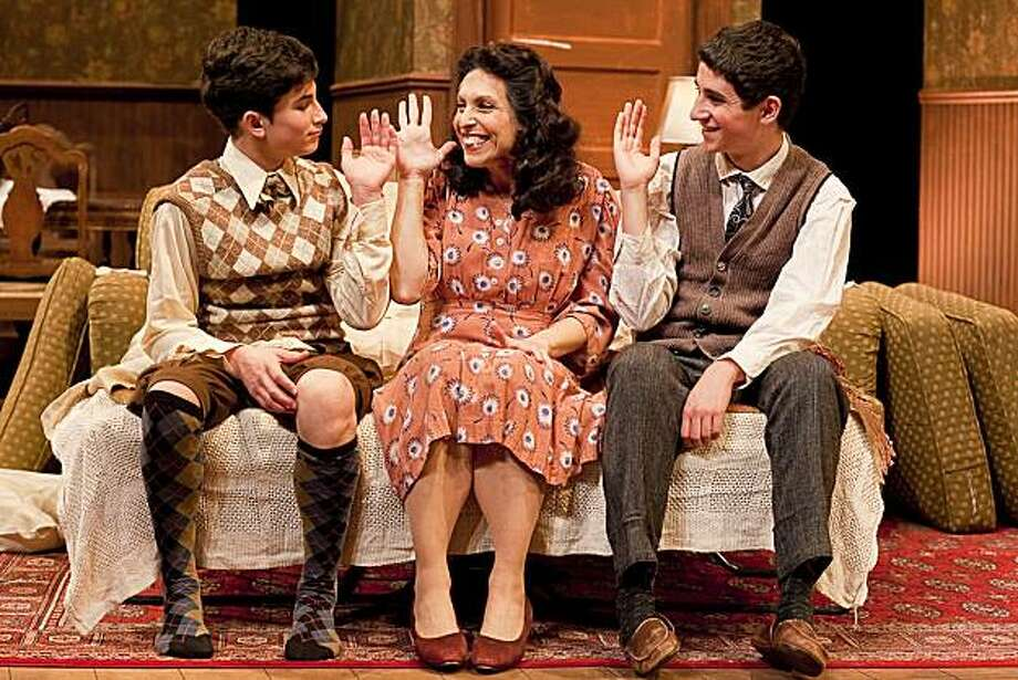 "Bella (Deb Fink, center) makes Arty (Noah Silverman St. John, left) and Jay (Zachary Frier-Harrison, right) swear not to tell her secrets in the Jewish Theater San Francisco's production of Neil Simon's ""Lost in Yonkers"" Photo: Ken Friedman"