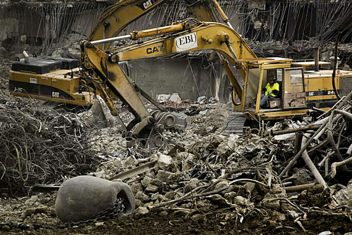 The demolition of the Transbay Terminal at Mission and 1st Streets in downtown San Francisco, Calif., continues on Friday Jan. 7, 2011.