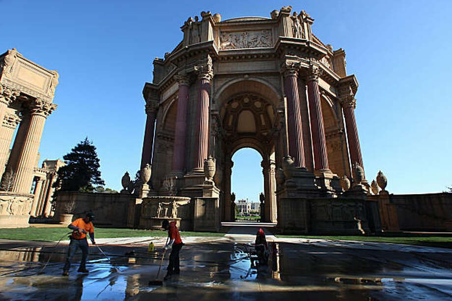 The Palace of Fine Arts in San Francisco, Calif., will soon open to the public  after having had it's $21 million dollar renovation.  The walkways are being cleaned on Tuesday, January 4, 2011. Photo: Liz Hafalia, The Chronicle