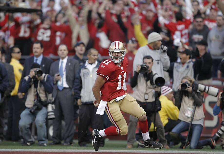 49ers Alex Smith in the end zone, on his fourth quarter touchdown, as the San Francisco 49ers go on to beat the New Orleans Saints 36-32, in the NFC divisional playoffs, on Saturday Jan. 14, 2012,  in San Francisco, Ca. Photo: Michael Macor, The Chronicle