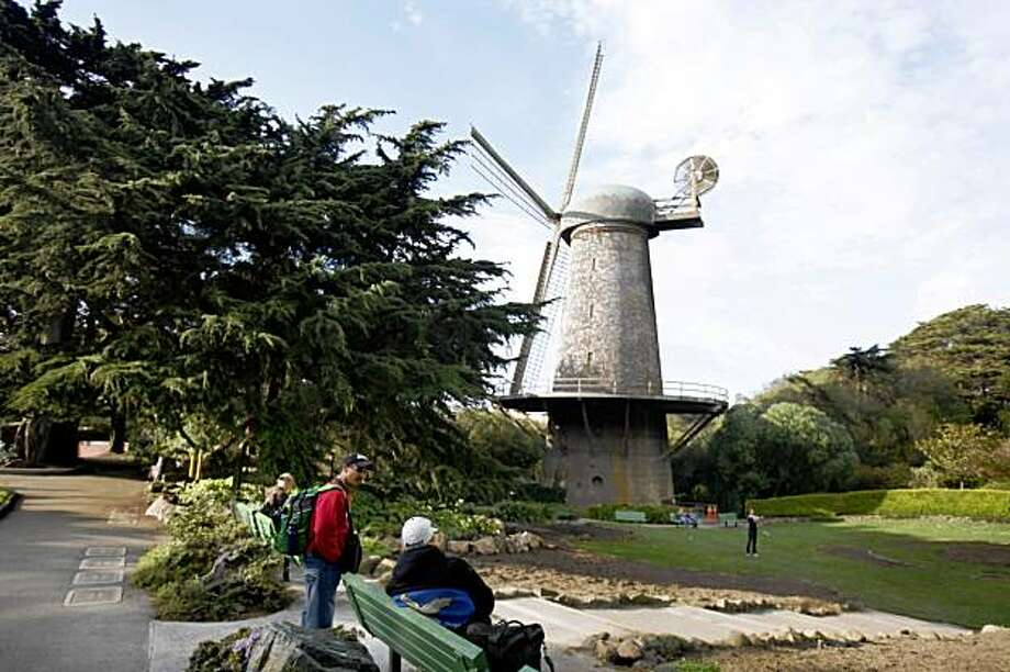 Visitors to the west end of Golden Gate Park enjoy the Dutch Windmill and the Queen Wilhelmina Garden in San Francisco, Calif. on Sunday October 18, 2009. Photo: Lea Suzuki