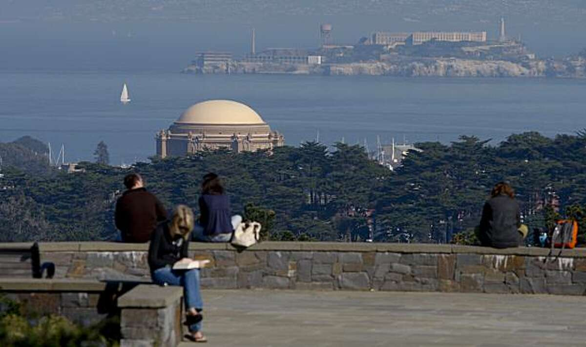 People enjoy the sun at Inspiration point It is part of the Presidio's Ecology Trail . . on Friday Jan 30, 2009 in San Francisco , Calif