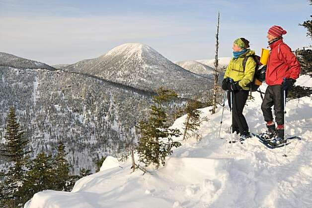 A snowshoe trip to a mountain top in the Chic Choc Mountains. Photo: Margo Pfeiff, Special To The Chronicle