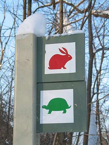 A trail marker at the Bois de Liesse ski area in Montreal. Photo: Margo Pfeiff, Special To The Chronicle